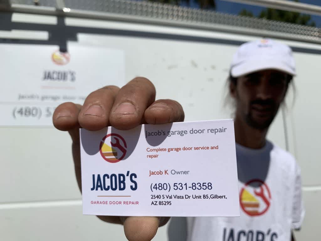 jacob garage door repair Gilbert business card